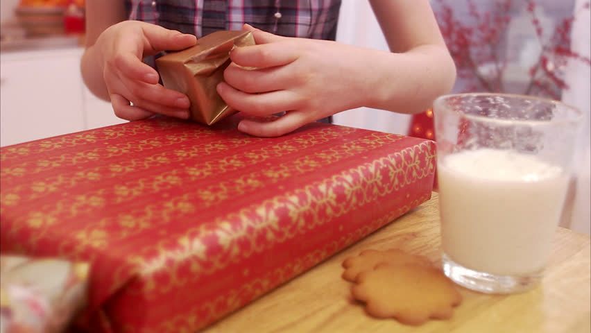 A girl with a Christmas gift, Sweden.