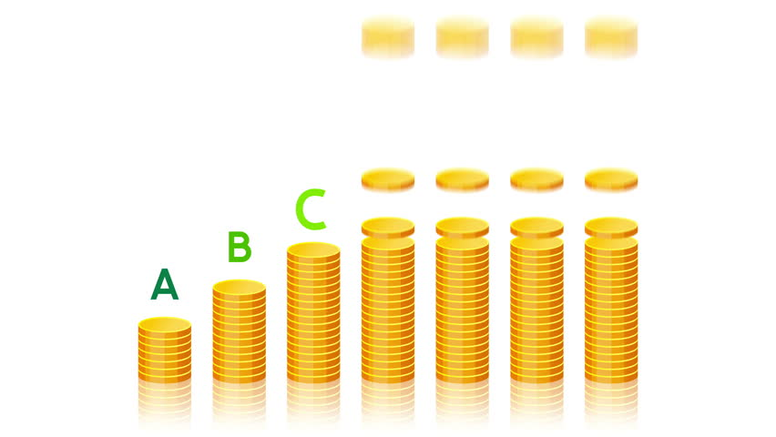Gold coins are falling from the top and arranging in stacks with markers of energy efficiency.