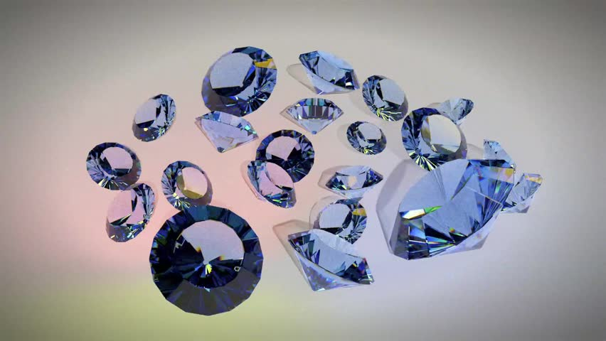 Luxury gemstone blue sapphires looped on a gradient background. Shiny rotating crystals.  | Shutterstock HD Video #24354455