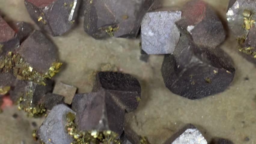 Rock Crystal Galena Mineral Texture Close Up HD