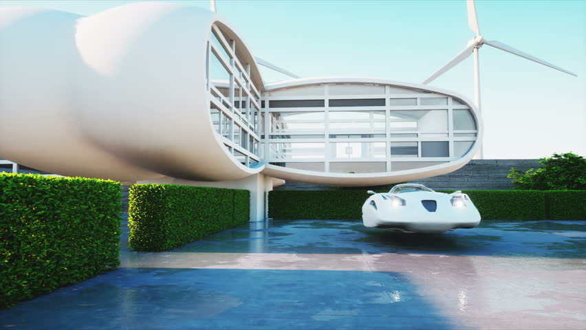 House of future. Futuristic flying car with woman. Super realistic 4K animation.