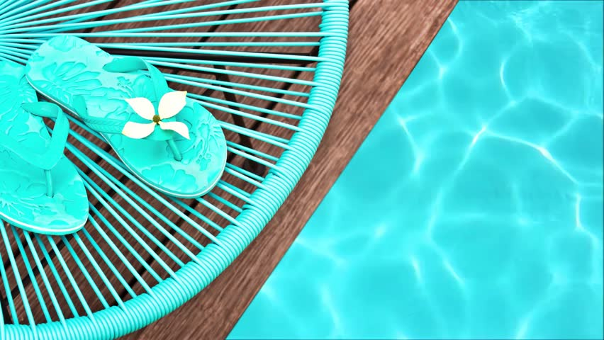 9d3834a80dc Seamless loop - Blue garden chair and flip flops on on the edge of a  swimming