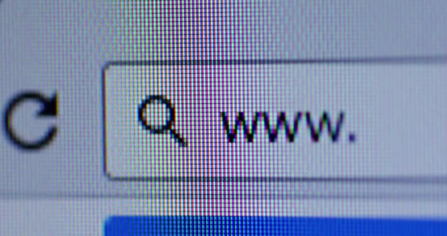 Close up of browser bar with WWW text and cursor. Internet Search Concept