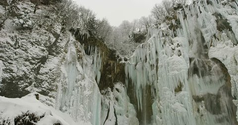 Frozen waterfalls at Plitvice lakes in Croatia shot on RED EPIC-W 8K.