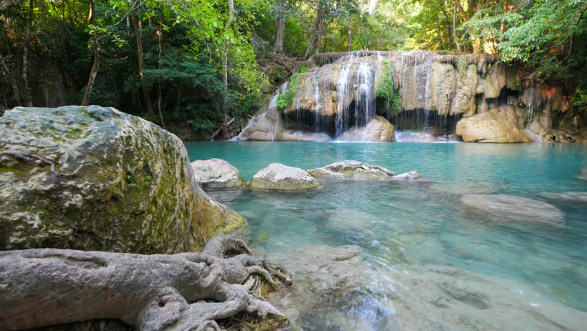 Erawan Waterfall (dolly shot), Kanchanaburi, Thailand | Shutterstock HD Video #24524705