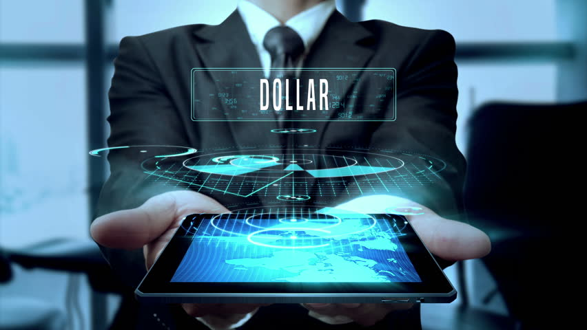 Dollar Euro Pound sterling Foreign Currency Concept Businessman Using Hologram Tablet Technology - Loop | Shutterstock HD Video #24631565