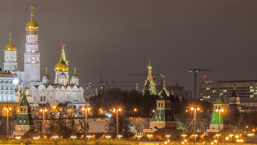 Russia, Moscow, night view of the Moskva River, Bridge and the Kremlin   Shutterstock HD Video #24637415