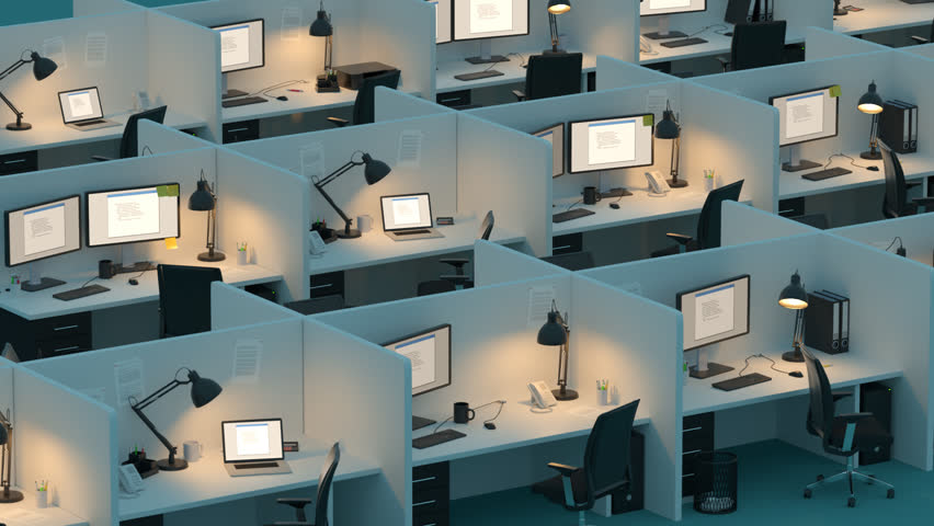 02630 Monitor Displaying Error Screen Placed On Partitioned Desks In An Office | Shutterstock HD Video #24637865