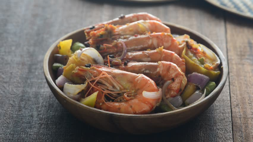 chilli prawns in traditional setting