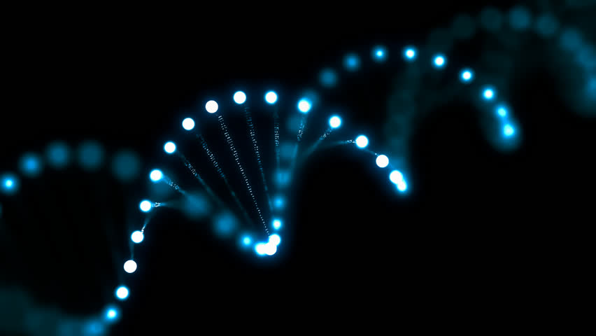 3D rendered looping animation of rotating DNA glowing molecule. Genetics concept.