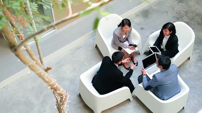 Top view of Group of business people discuss on project