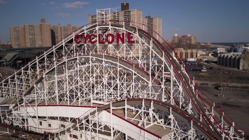 Circling Cyclone roller coaster in Coney Island