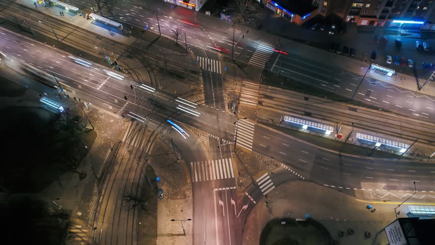 Night drone time lapse of intersection in Warsaw | Shutterstock HD Video #24721685