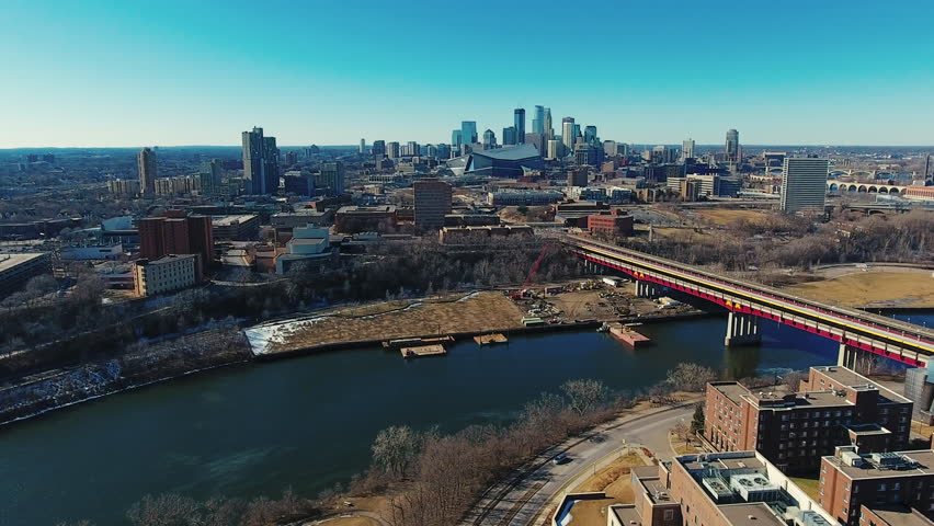 Aerial view of the Minneapolis Minnesota skyline and Mississippi River 7 | Shutterstock HD Video #24722975