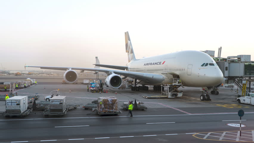Air France A380 airplane being maintained at the airport. Conceptual editorial 4K time lapse clip