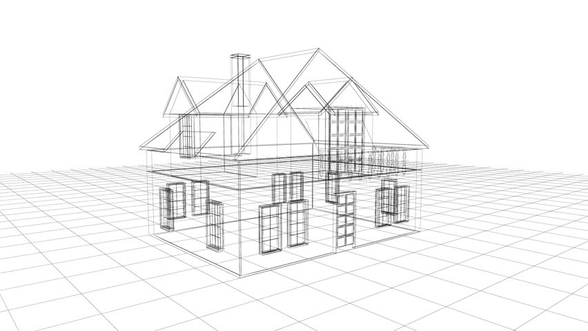 Stock video clip of villa architecture blueprint seamless looping 4k0010building wireframe animation malvernweather Image collections