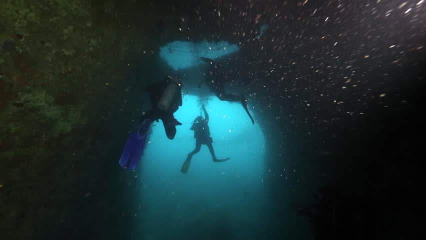 Scuba divers ascend into underwater air pocket at Poor Knights Islands | Shutterstock HD Video #24788891