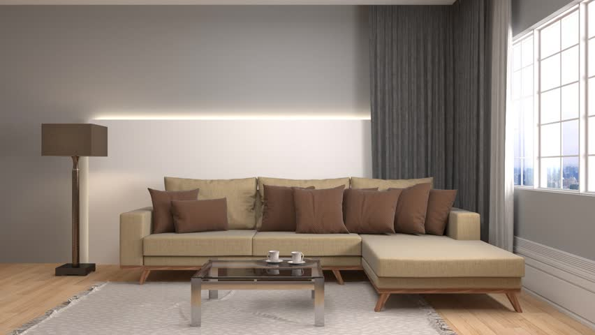 Beautifully Decorated Living Rooms. Interior with sofa  3d illustration HD stock footage clip Luxury Apartment View Of Beautifully Decorated Living