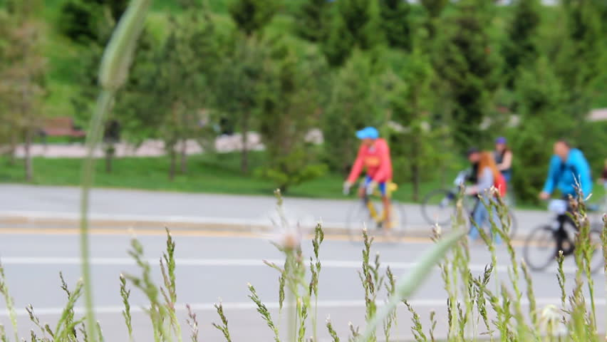 Many cyclists and walkers goes up and down a hill. Spikelets of grasses shaking from wind on front. Blurred background street in the city  | Shutterstock HD Video #24869105