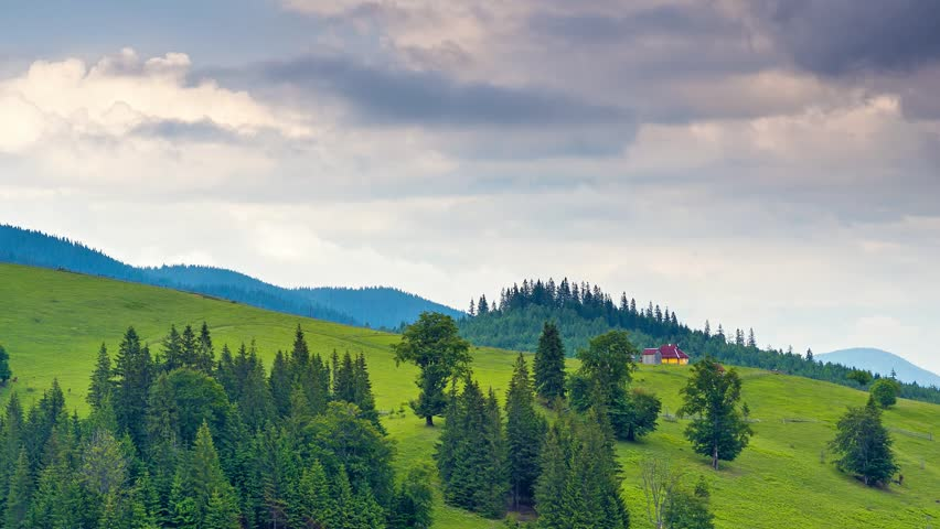 Majestic view of gloomy hills. Dramatic and gorgeous scene. Location Carpathian, Ukraine, Europe. Great natural background. Explore the world's beauty. Time lapse, interval shooting in HD 1080 video. - HD stock footage clip