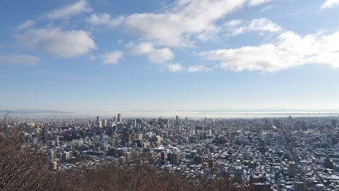 Timelapse of Sapporo City in Winter.