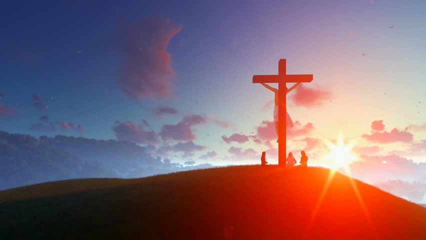 Jesus on cross against morning sunrise, believers praying #24902405