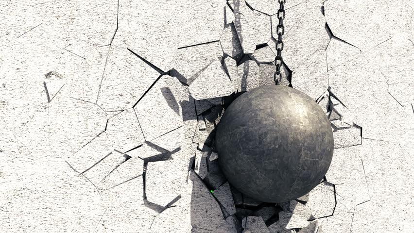 Metallic Wrecking Ball Shattering The Concrete Wall. Green Screen. 3D Animation. #24909275
