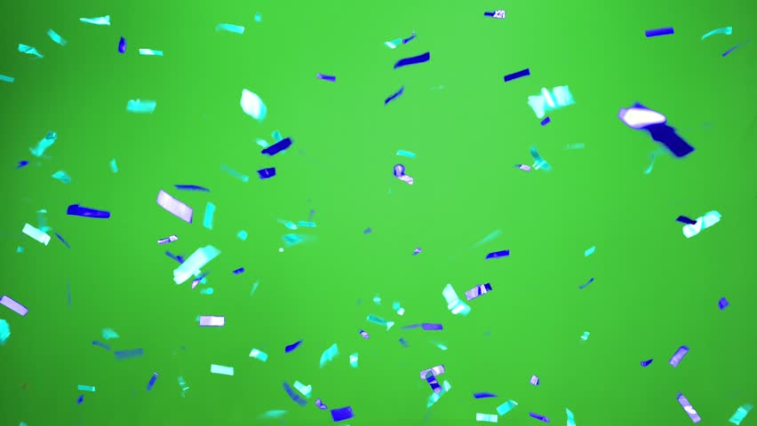 Real Confetti falling  soft and beautiful in the colors blue and cyan with  Green screen for party and celebrations | Shutterstock HD Video #24916925