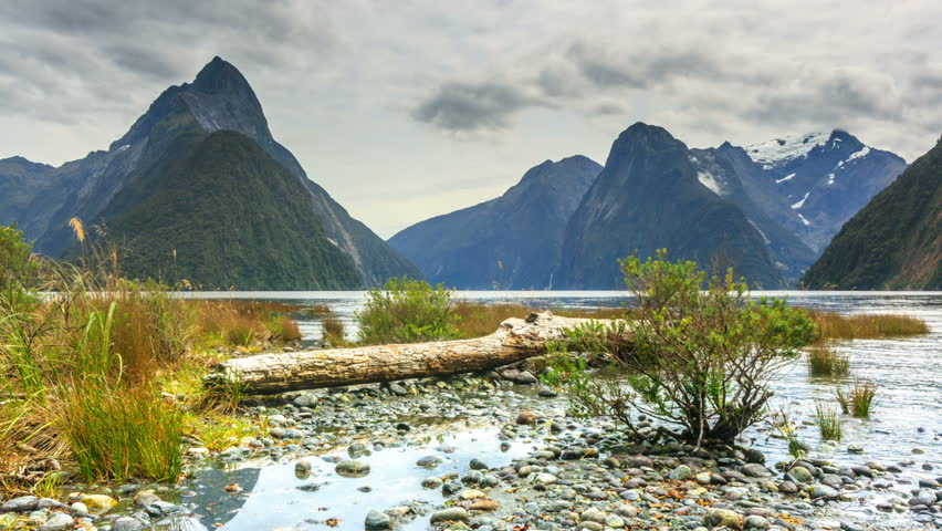 Milford sound. New Zealand fiordland. Timelapse