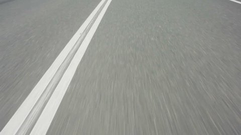 Line On The Road, Close-up, Fast movement