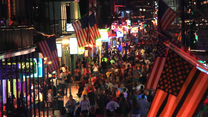 NEW ORLEANS - JULY 4: Bourbon street at night, crowded with tourists on the 4th