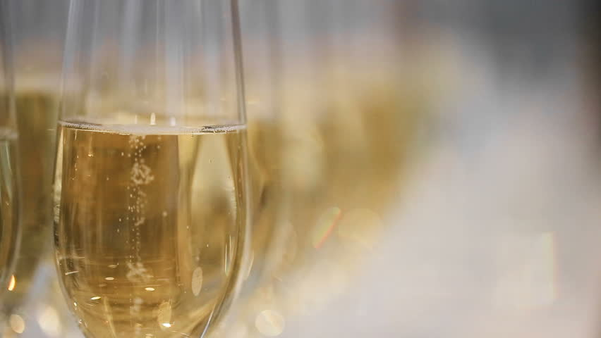 Close up refocusing shot of many glasses of champagne on the table | Shutterstock HD Video #24981275