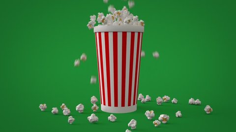 Popcorn falling down and filling striped paper cup packing for watching film entertainment in cinema theater full-hd video. Greenscreen green key background 3d rendered animation.