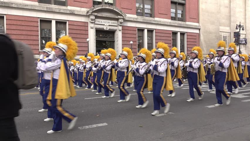 NEW YORK CITY, NEW YORK - NOVEMBER 24: Marching band in 90th Macy's Thanksgiving day parade tilt shot in New York City, New York on November 24, 2016.
