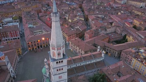 modena aerial view flying around ghirlandina tower