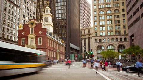 Boston, MA, USA - September 21, 2016: Time Lapse of Old State House and the skyscrapers of the Financial District