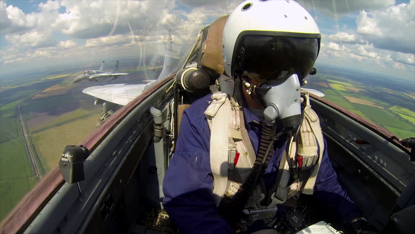 2017, the 20th of March, Russia, Moscow: - The fighter MIG-29 pilot in flight during military readiness check of russian air force