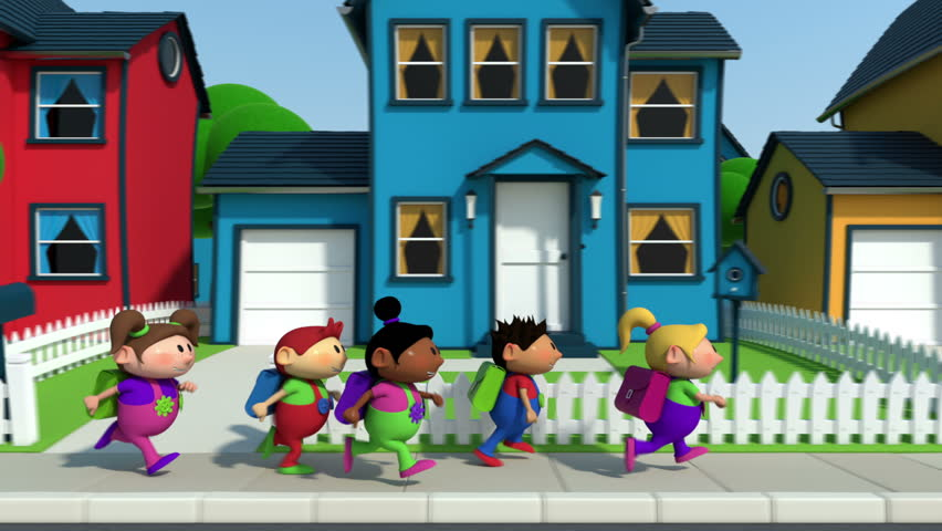 cute cartoon children running along a suburban street - high quality 3d animation - loopable
