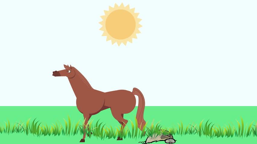 Cartoon Horse Walking in Grass (4K): Looping | Shutterstock HD Video #25053275