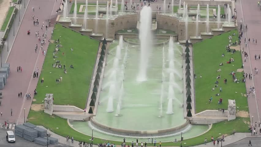 Aerial view of Trocadero Gardens, Paris. | Shutterstock HD Video #25074275