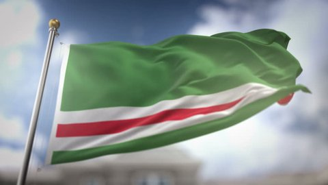 Chechen Republic of Ichkeria Flag Waving Slow Motion 3D Rendering Blue Sky Background - Seamless Loop 4K