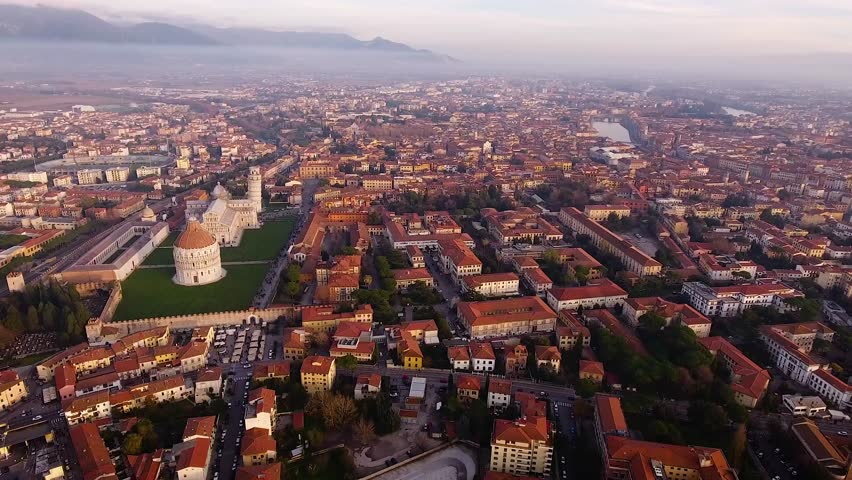 Aerial shot, Piazza dei Miracoli in Pisa city in Tuscany, Italy, filmed with drone, 4K | Shutterstock HD Video #25084565