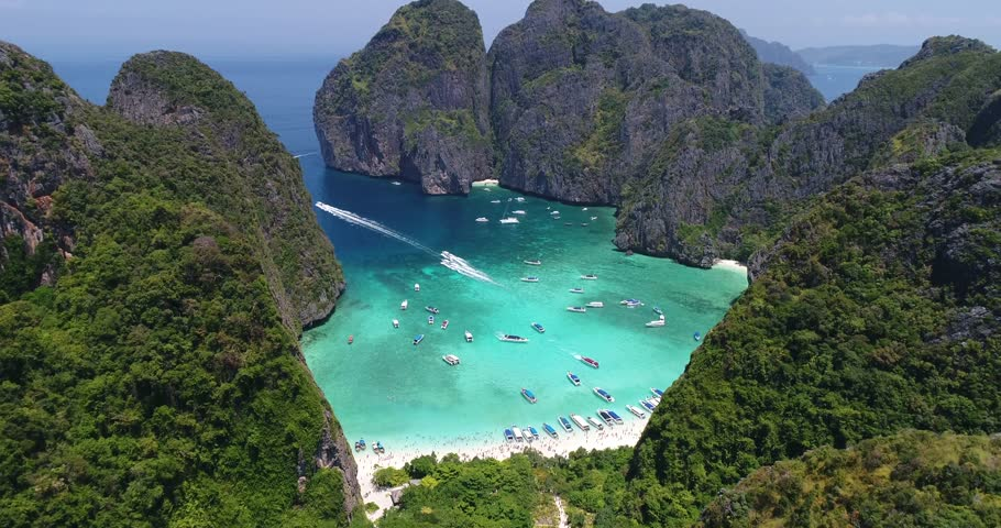 Flying over the famous Maya Bay on Ko Phi Phi Le, Thailand. Known from the movie the Beach with Leonardo DiCaprio.