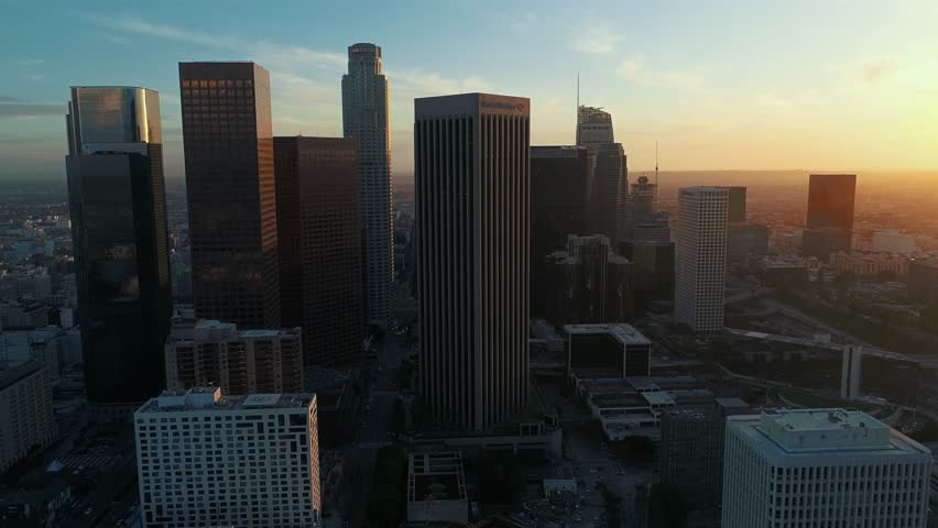 Aerial, drone view above Downtown Los Angeles / 4k / Los Angeles / 03.20.2017