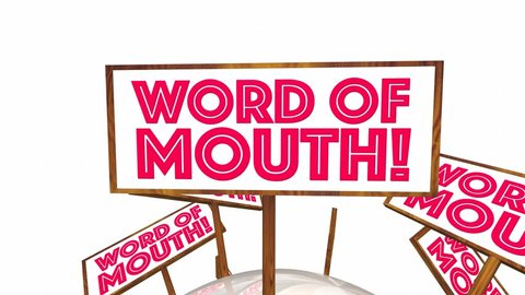 Word of Mouth Buzz Signs Passing Along Information 3d Animation