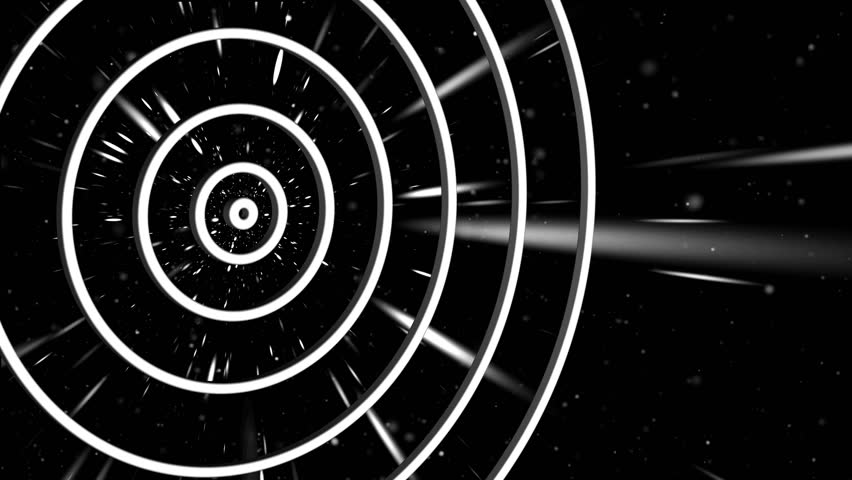 Computer abstract cosmic animation with concentric divergent circles against the background of moving particles   Shutterstock HD Video #25186475
