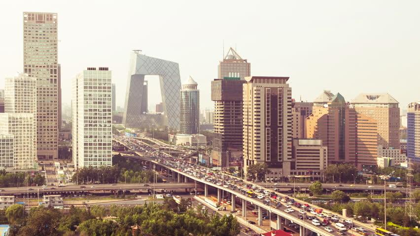 highway through modern city in Beijing, China