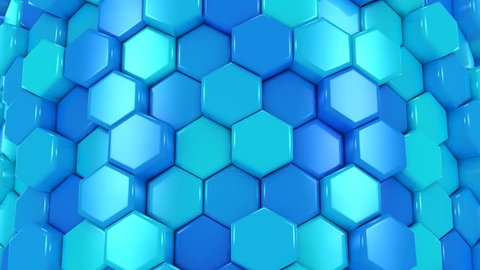 Animated Honeycombs Changes Color. Abstract background, loop, created in 4K, 3d animation