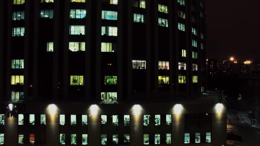 Time Lapse Of Apartment Building At Night Zoom Out Stock Footage