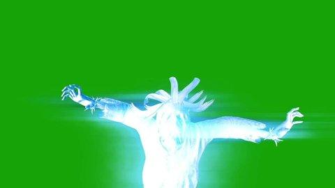 Terrifying Ghost Hangman Horror Attack Green Screen 3D Rendering